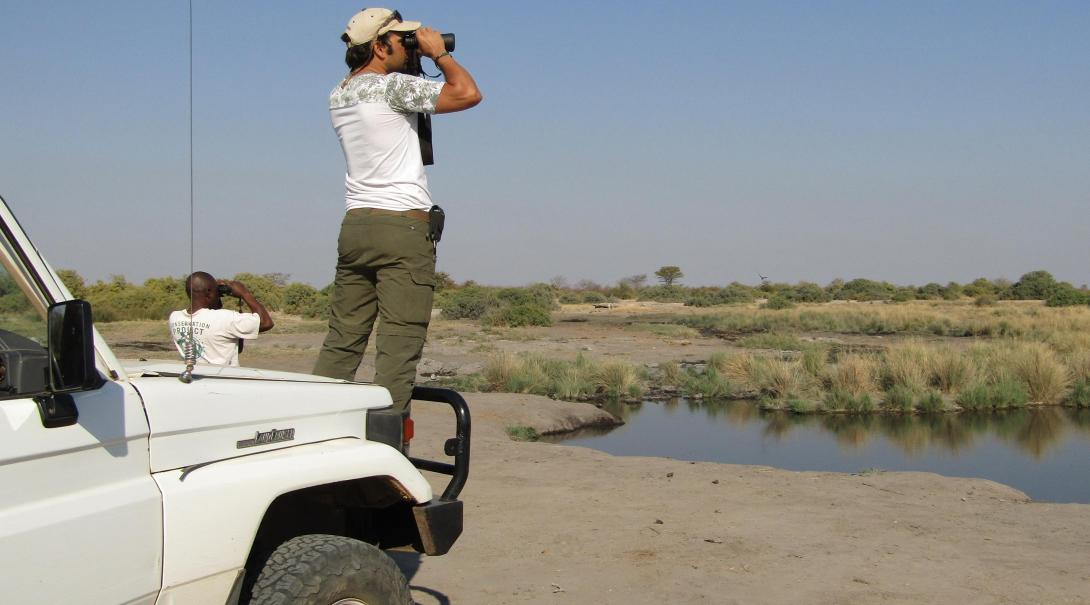 Conservation volunteers conducting a wildlife survey in Botsuwana